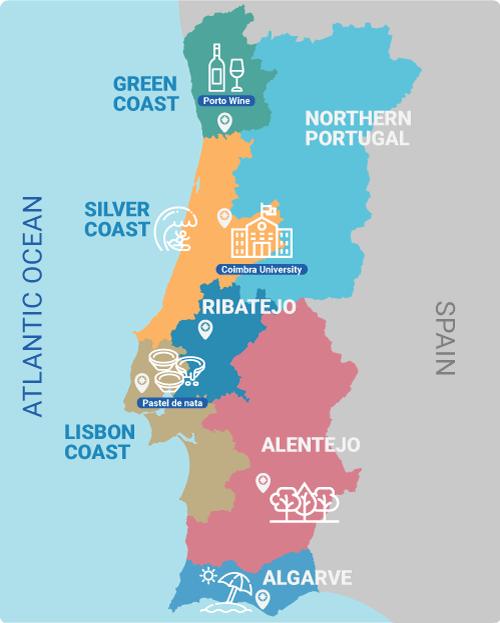 Portugal-map-regions-green-coast-silver-coast-ribatejo-lisbon-alentejo-algarve