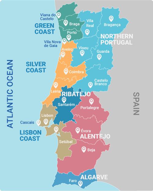 Portugal-map-regions-silver-coast-green-coast-algarve-alentejo-lisbon