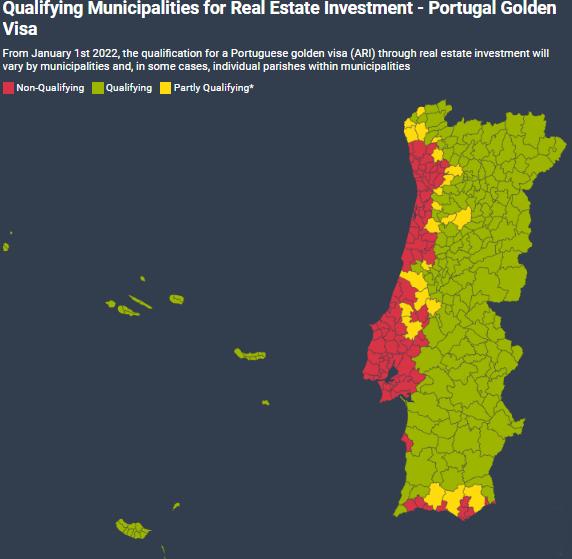 Quais são as áreas do interior de Portugal para investimento imobiliário do Visto Gold?